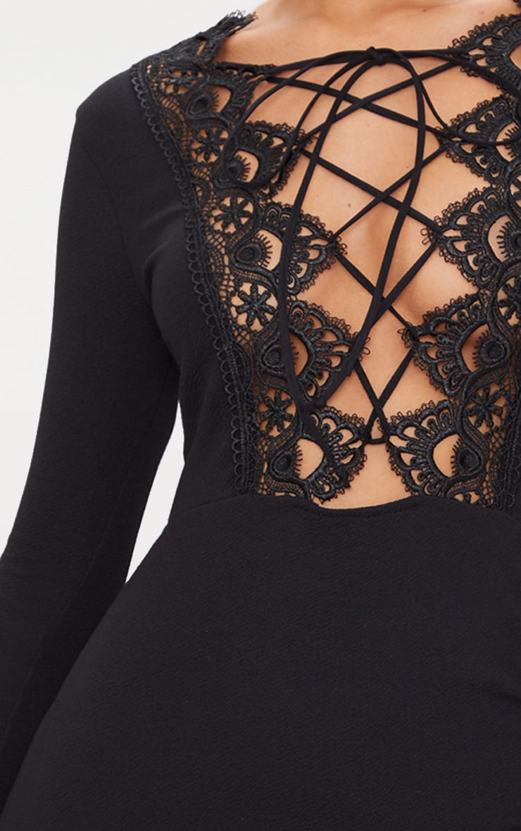 Black Lace Up Long Sleeve Wrap Detail Bodycon Dress  5
