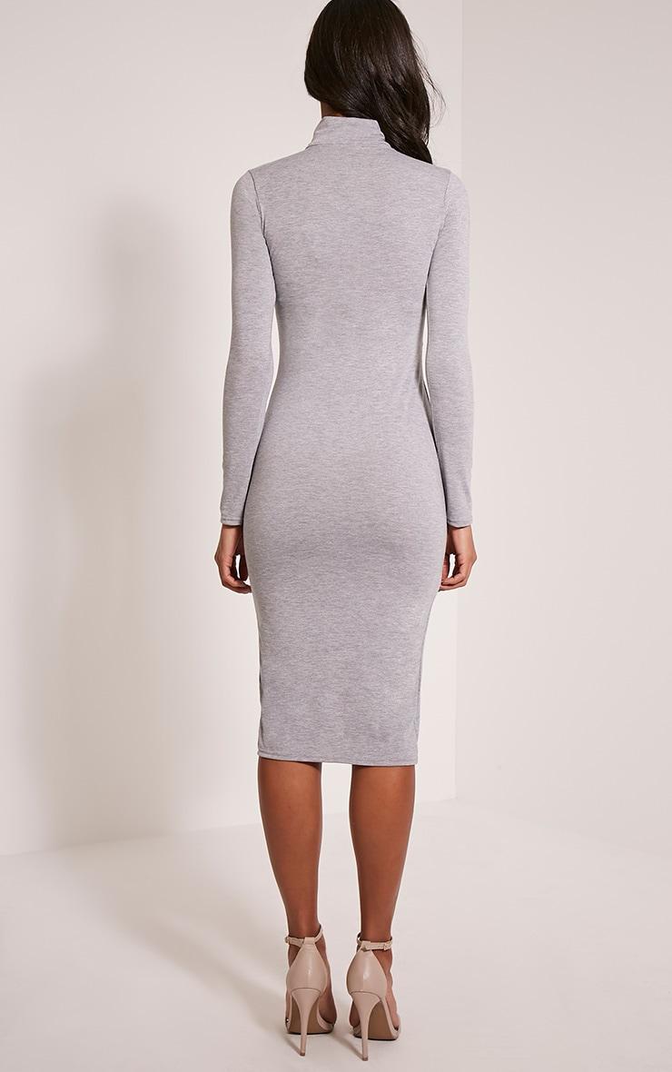 Sharia Grey Jersey Roll Neck Split Midi Dress 2