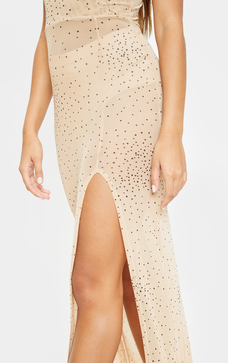 Beige Polka Dot Sheer Mesh Strappy Split Maxi Dress 5