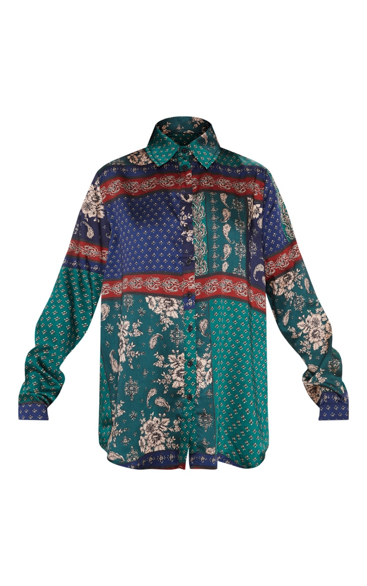 Multi Paisley Print Oversized Shirt 3