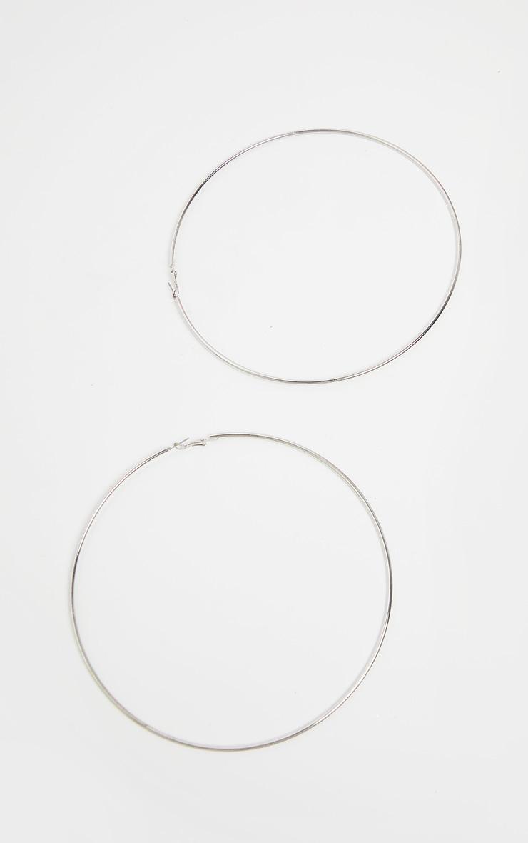 Silver 150mm Extra Large Hoop Earrings 2