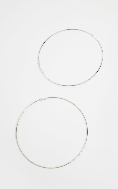 Silver 150mm Extra Large Hoop Earrings