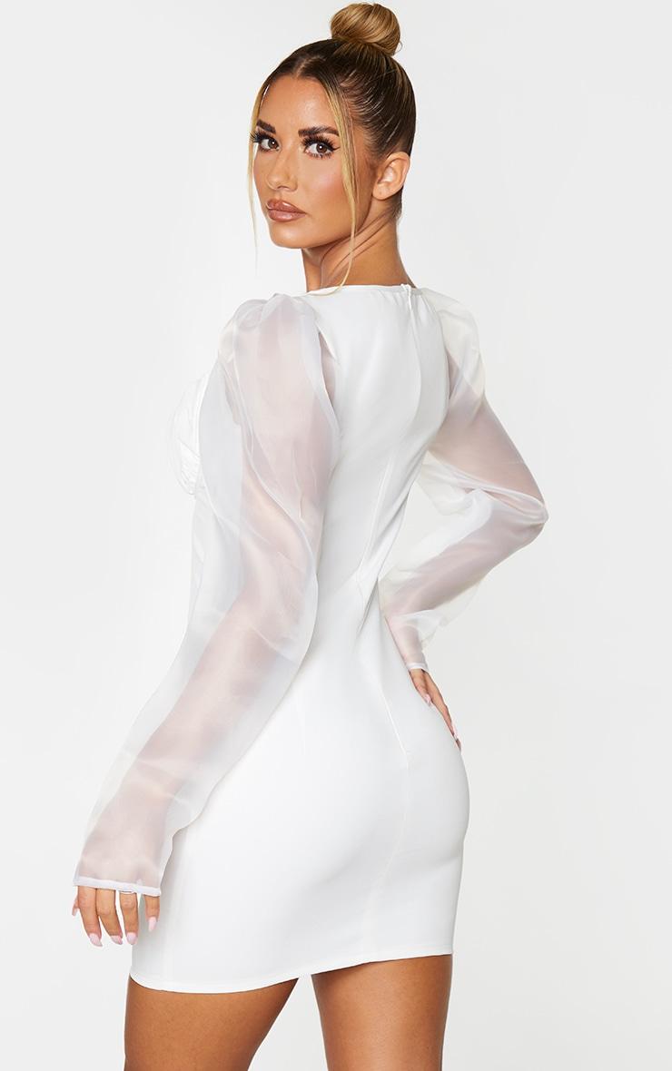 White Organza Sleeve Underwired Bust Bodycon Dress 2
