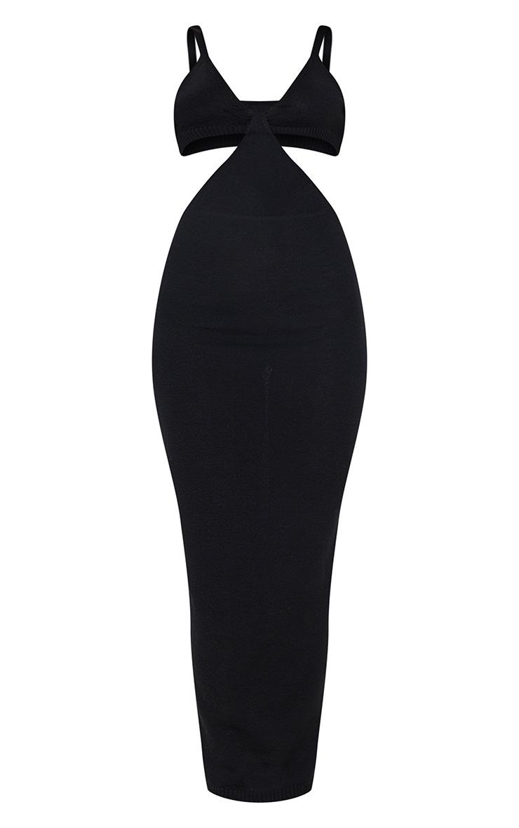 Black Sheer Knit Cut Out Maxi Dress 5