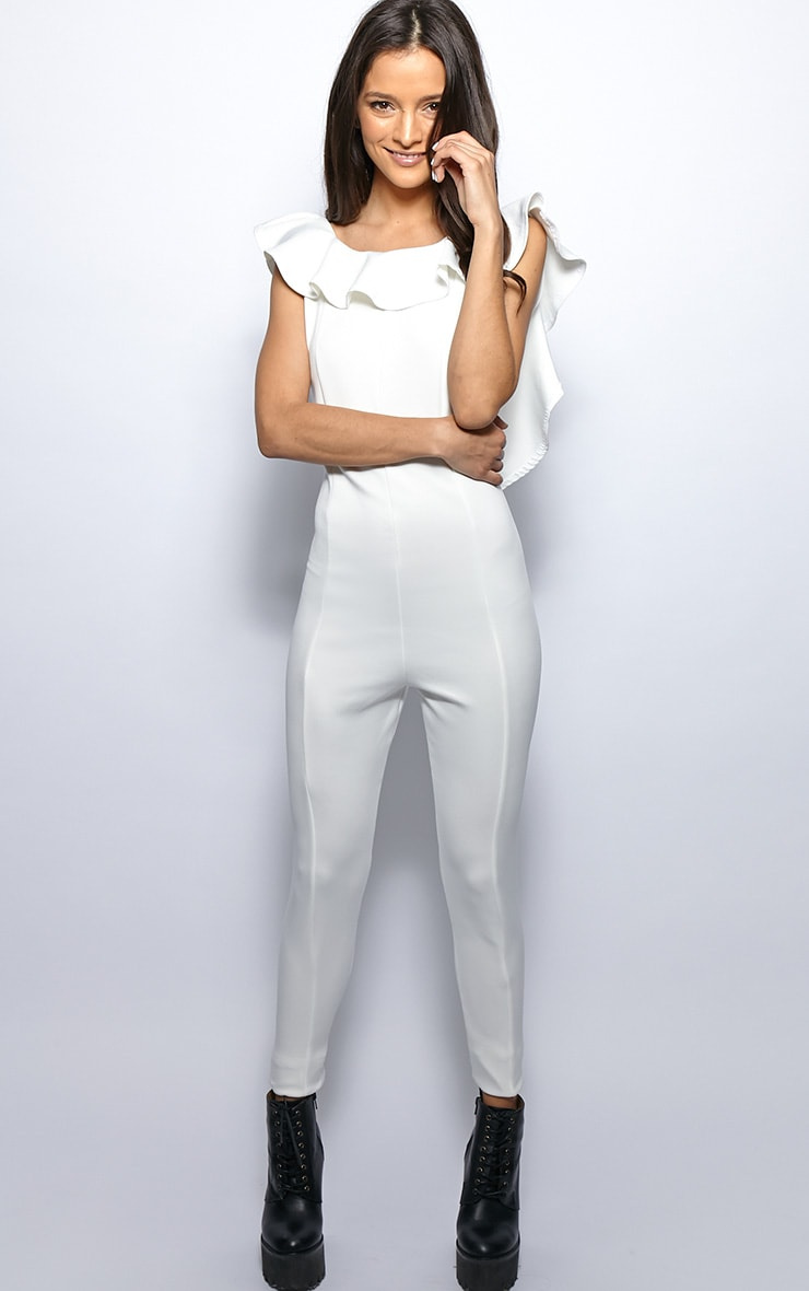 Fern White Frill Scoop Back Jumpsuit 4