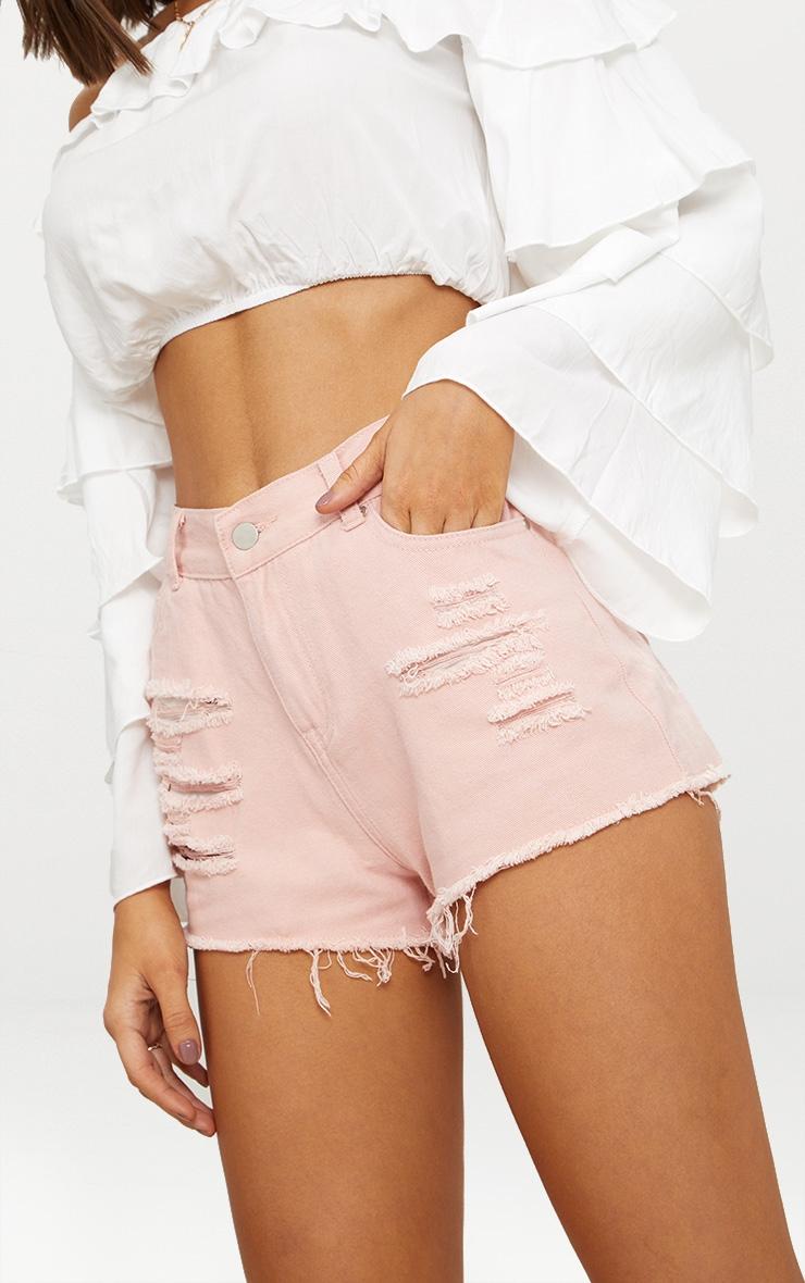Pink Elana Ripped Denim Hot Pants 5