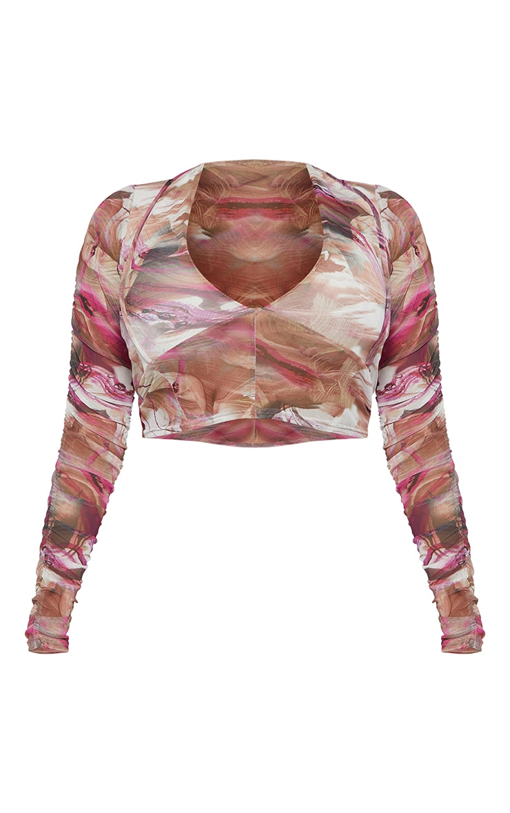 Shape Pink Marble Print Mesh Cut Out Ruched Sleeve Crop Top 5