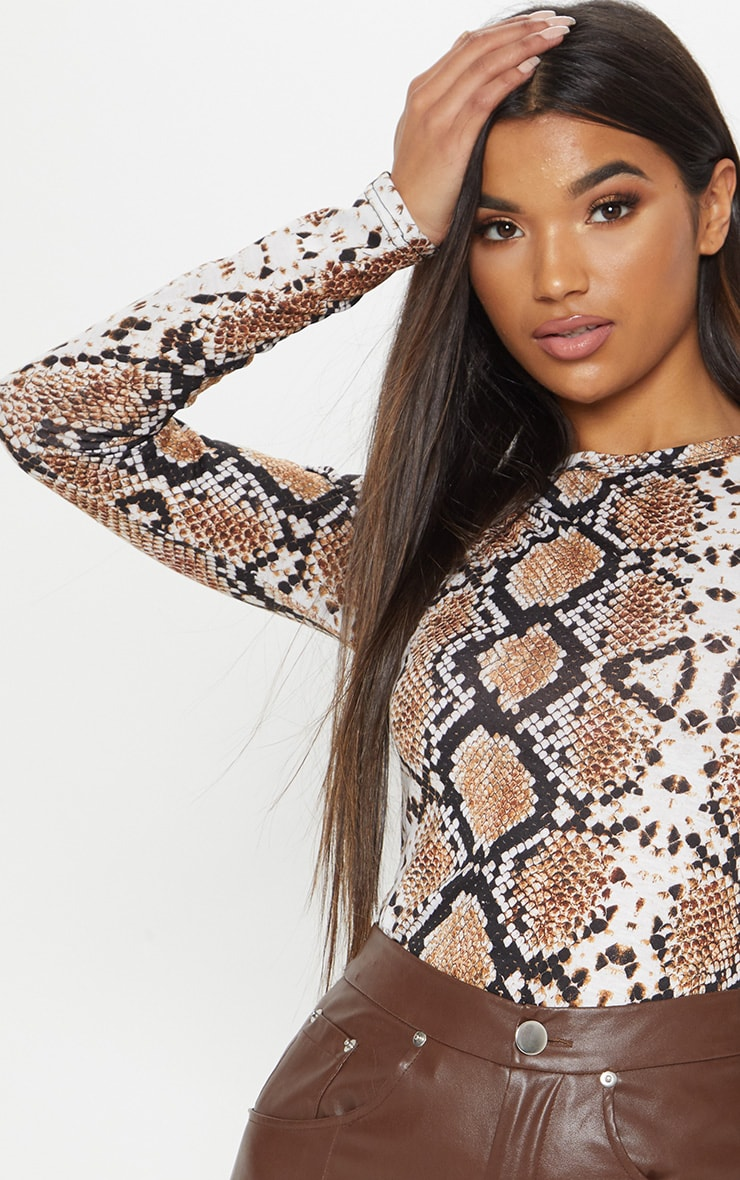 Grey Snake Print Fitted Long Sleeve Top 4