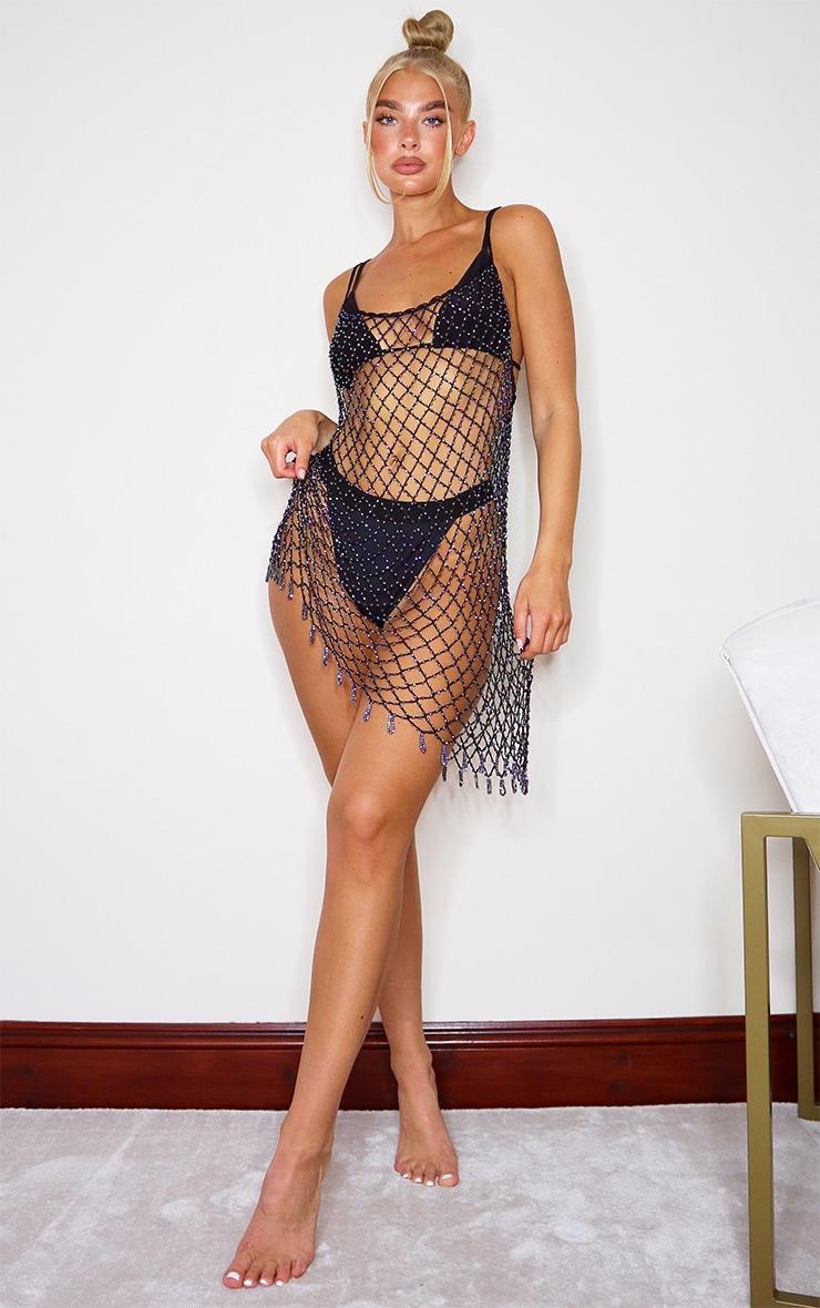 Black Iridescent Beaded Crochet Dress 3