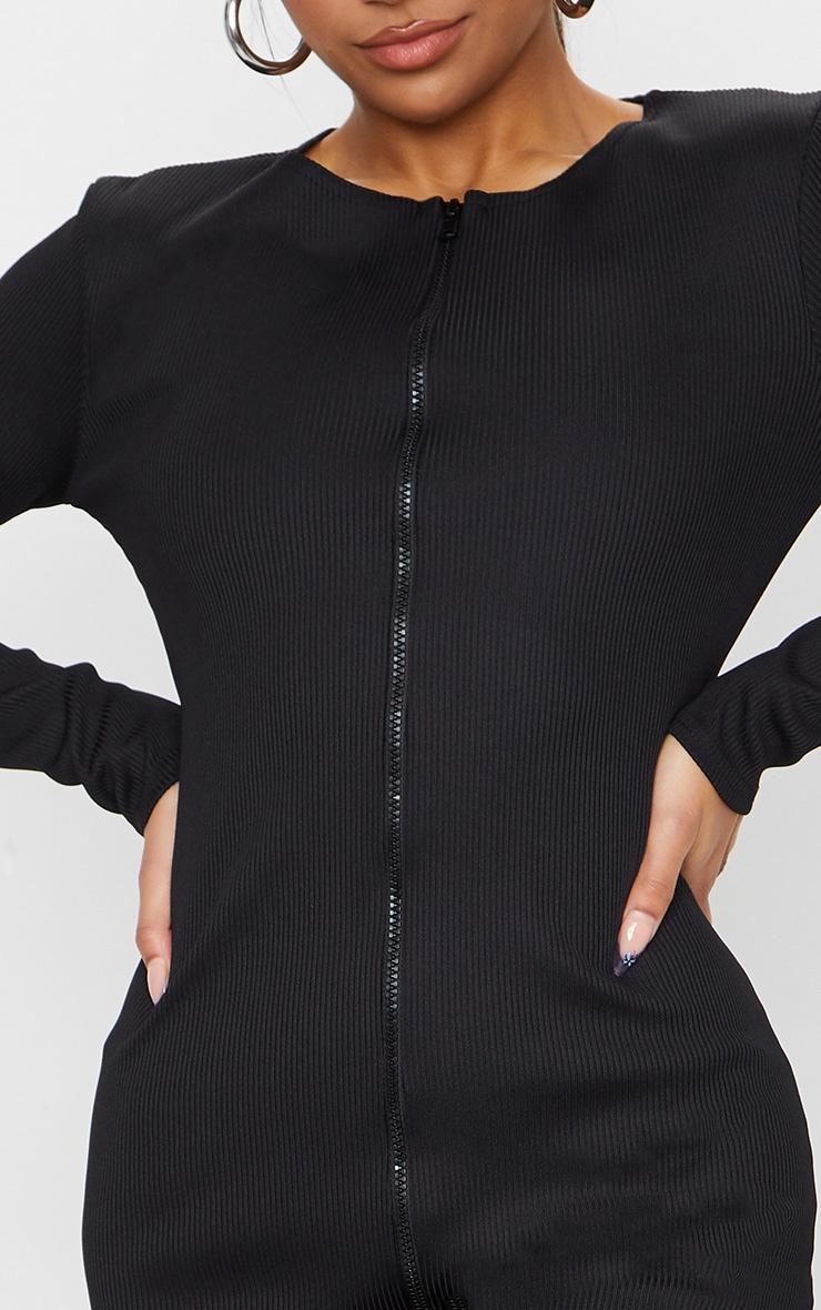 Black Jumbo Rib Double Zip Midi Dress 4