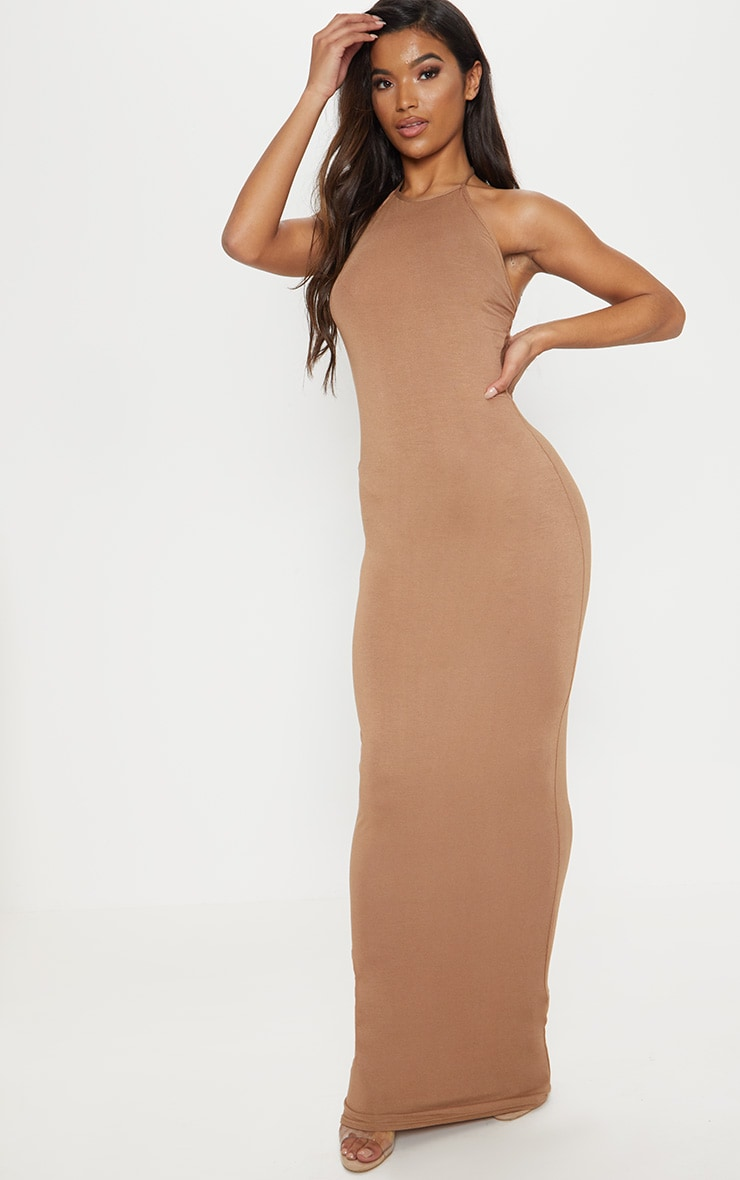 Camel Basic Halterneck Maxi Dress 4