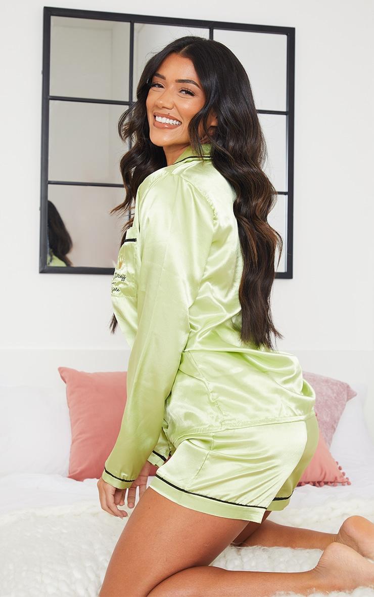 Green Disney Princess Tiana Embroidered Short Satin Pj Set 2