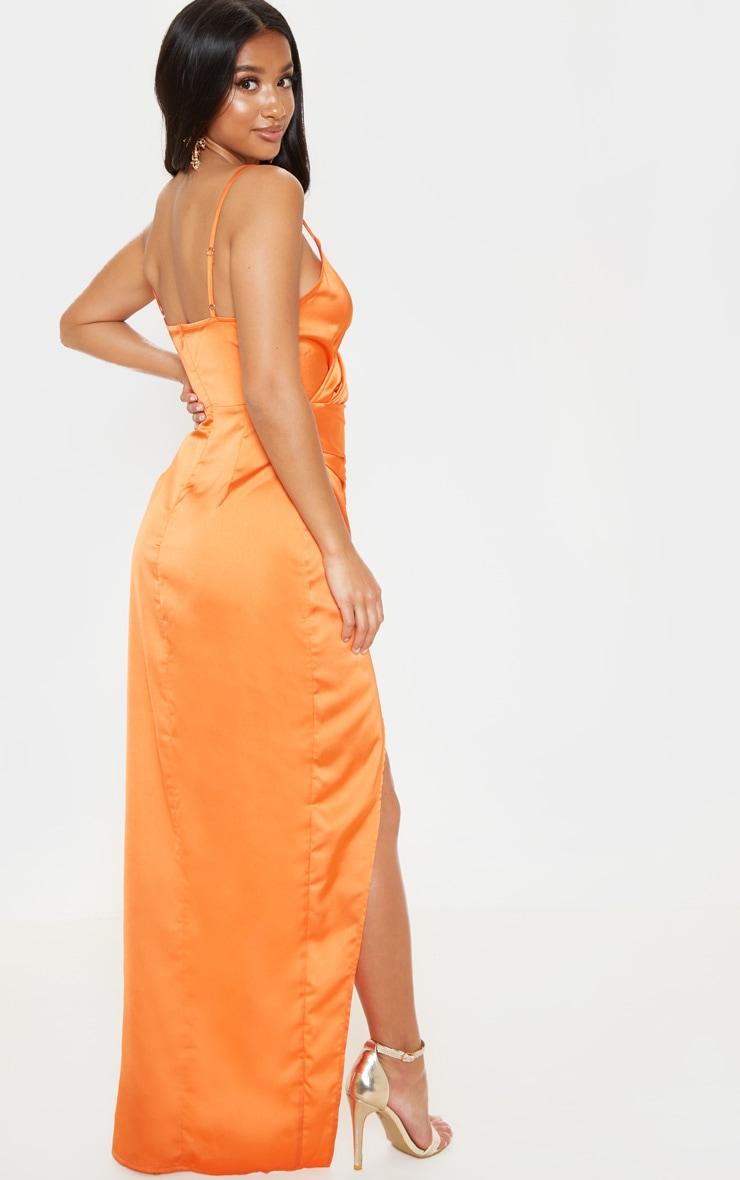 Petite Orange Satin Wrap Detail Maxi Dress 2