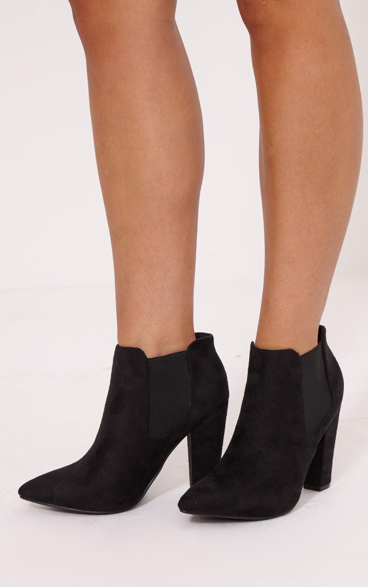 Bridget Black Faux Suede Heeled Chelsea Ankle Boots 1