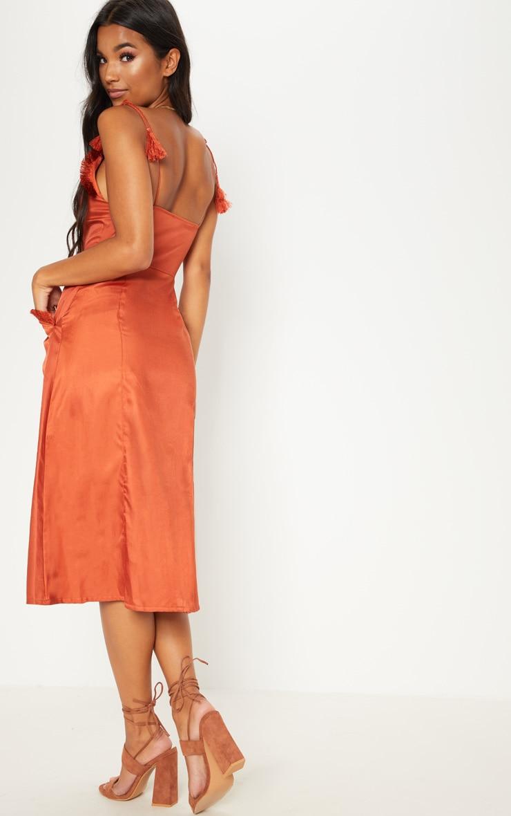 Rust Tie Shoulder Fringe Detail Button Midi Dress 2