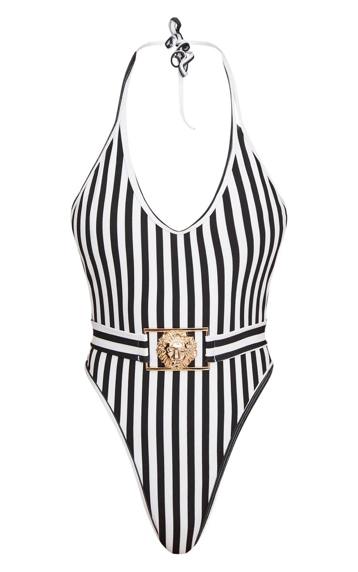 Black Mono Stripe Lion Belted Swimsuit 7
