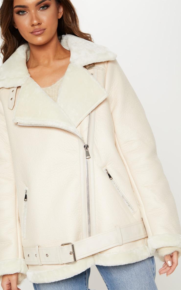 Veste aviateur en cuir synthétique crème 5