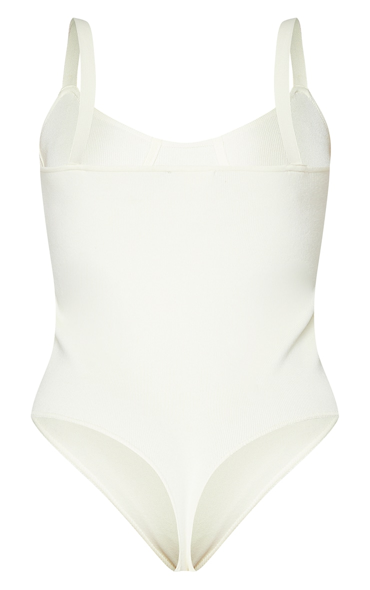 Cream Ribbed Bandage Knitted Cup Detail Bodysuit 6