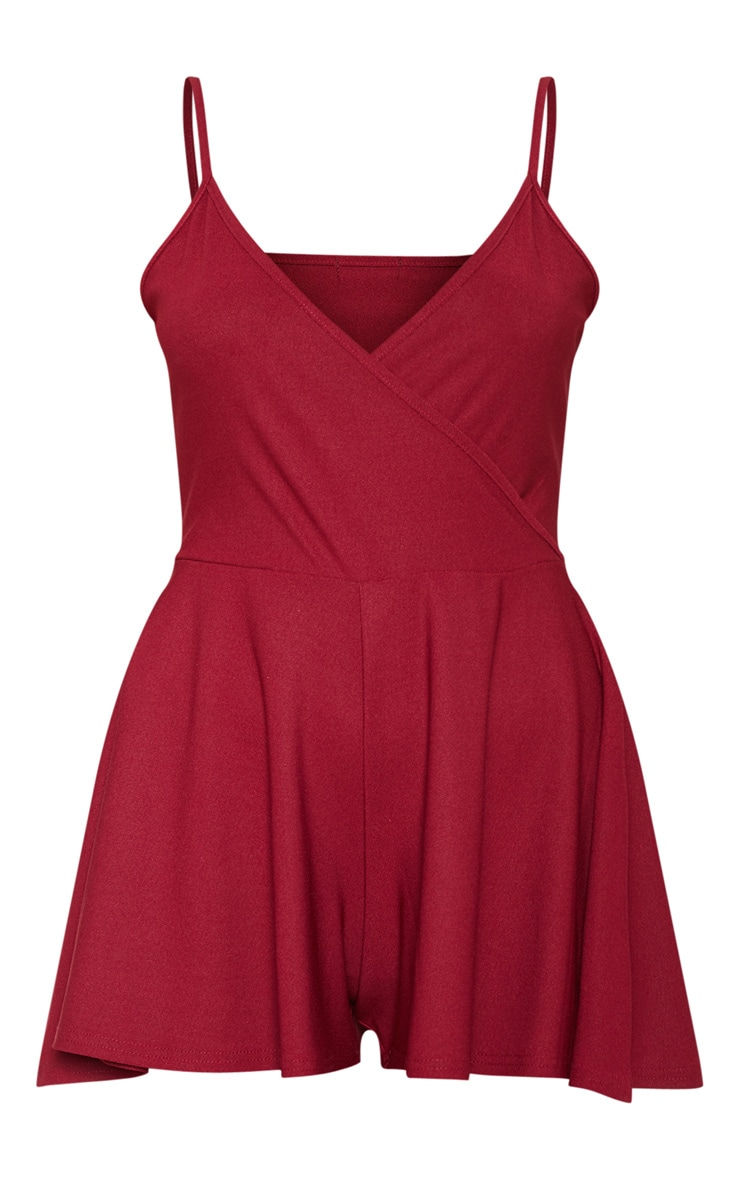Scarlet Crepe Strappy Wrap Playsuit 3