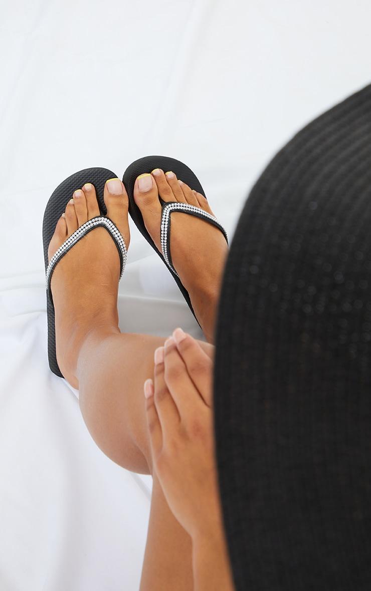 Black Diamante Toe Thong Flip Flop 2