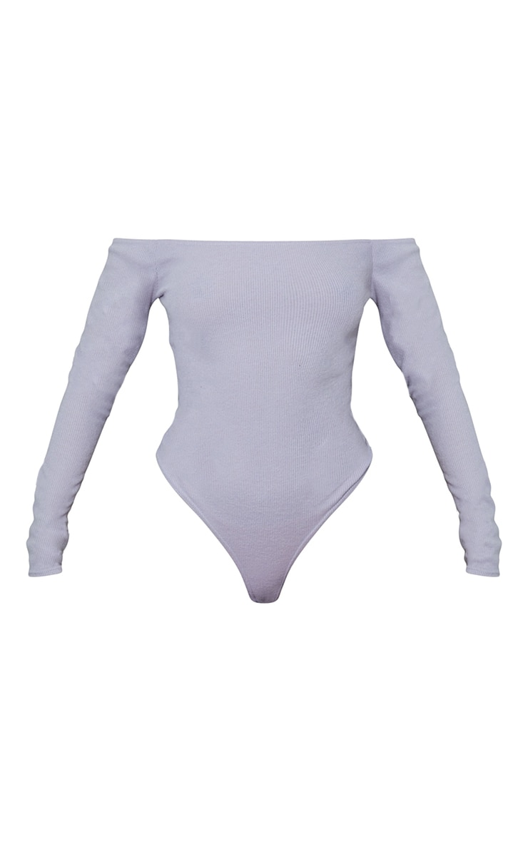 Ash Grey Bardot Brushed Rib Bodysuit 5