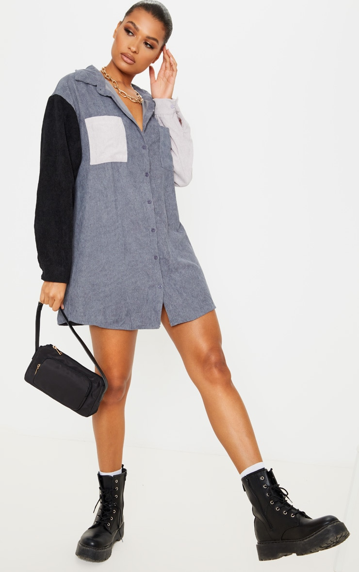 Black Colour Block Cord Pocket Front Oversized Shirt Dress 4