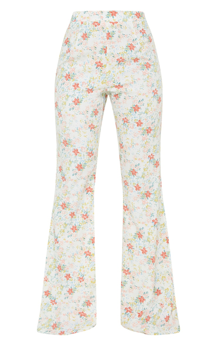 Light Pink Floral Printed Woven High Waisted Flared Trousers 5