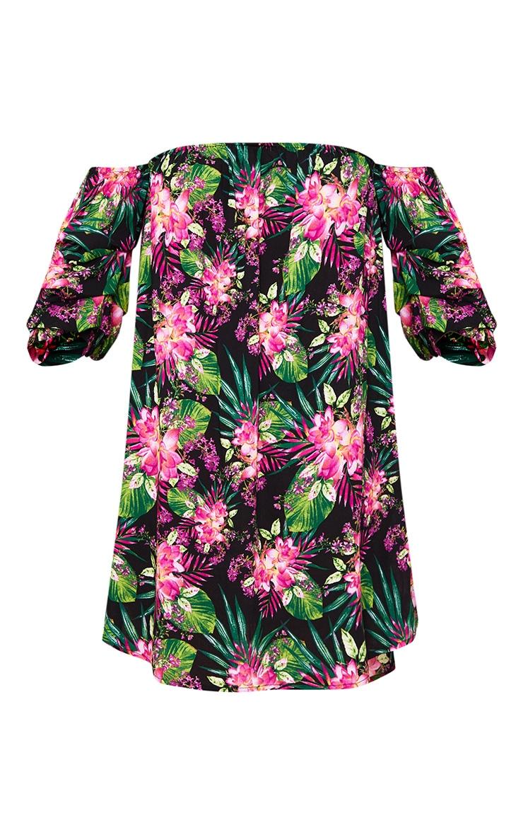 Black Floral Ruched Bardot Sleeve Shift Dress 3