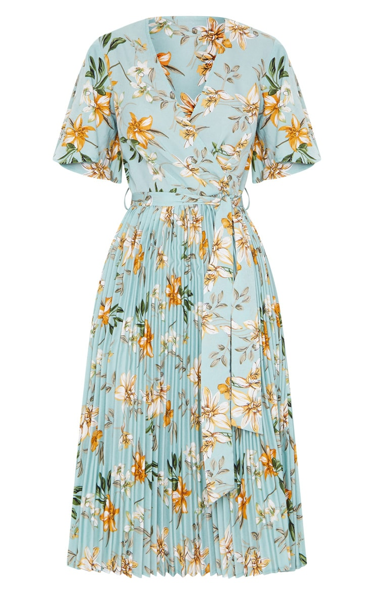Sage Green Floral Pleated Midi Dress 5