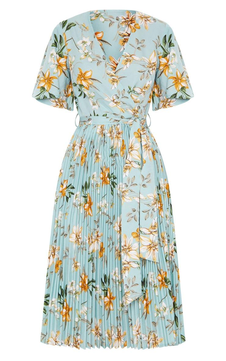 فستان ميدي أخضر مائل للرمادي بنقشة زهور بكسرات 5