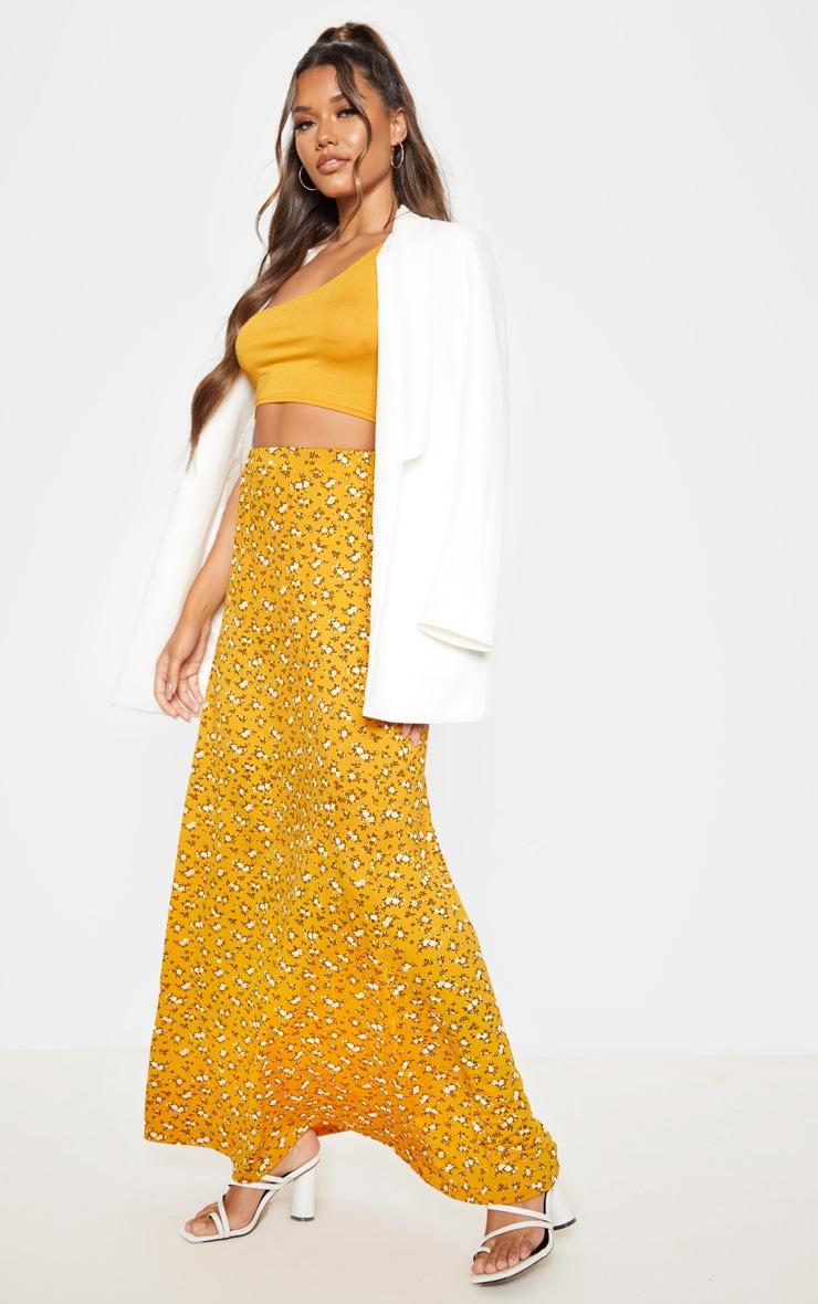 Mustard Ditsy Floral Print Basic Maxi Skirt 1