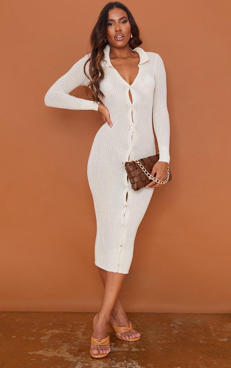 Cream Sheer Knit Button Up Midaxi Dress 1