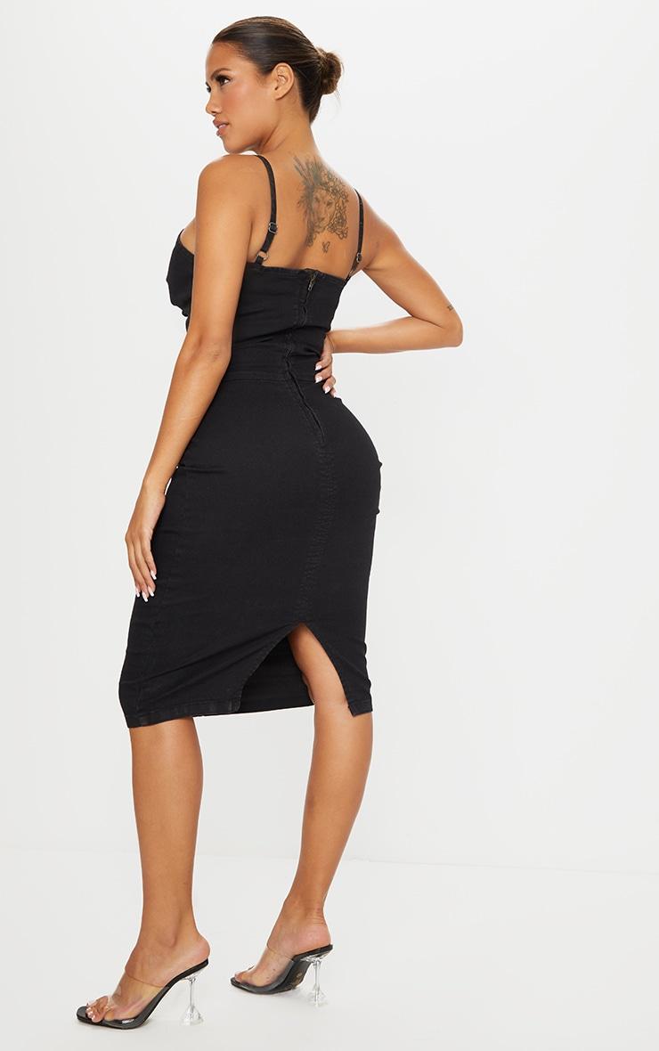 Shape Black Denim Twist Front Midi Dress 2