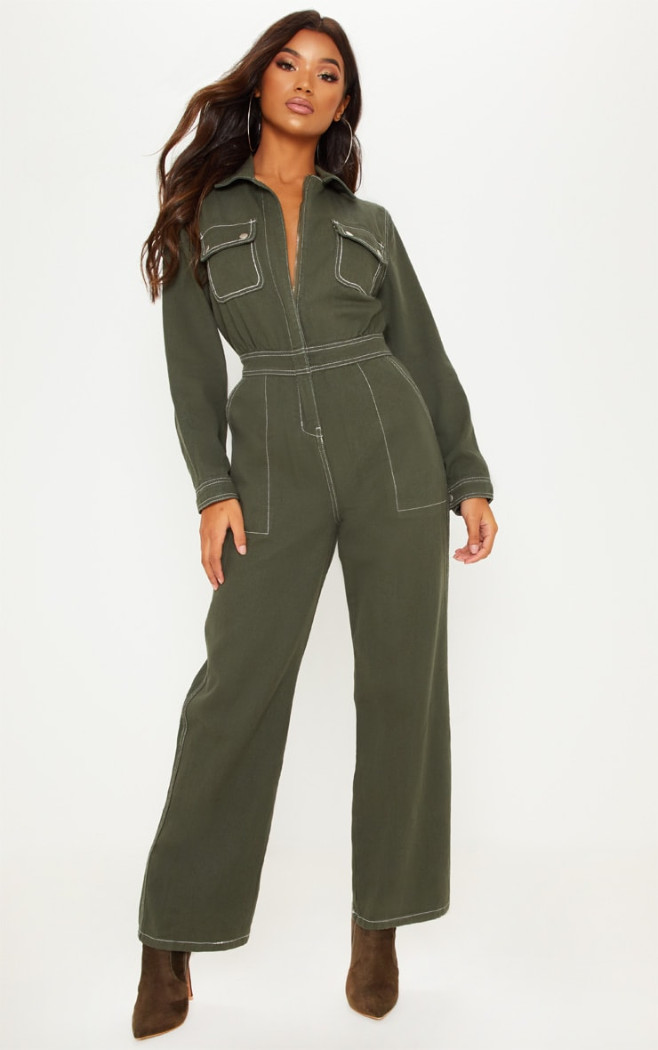 2c2d2720863 Khaki Cropped Leg Denim Boilersuit image 1