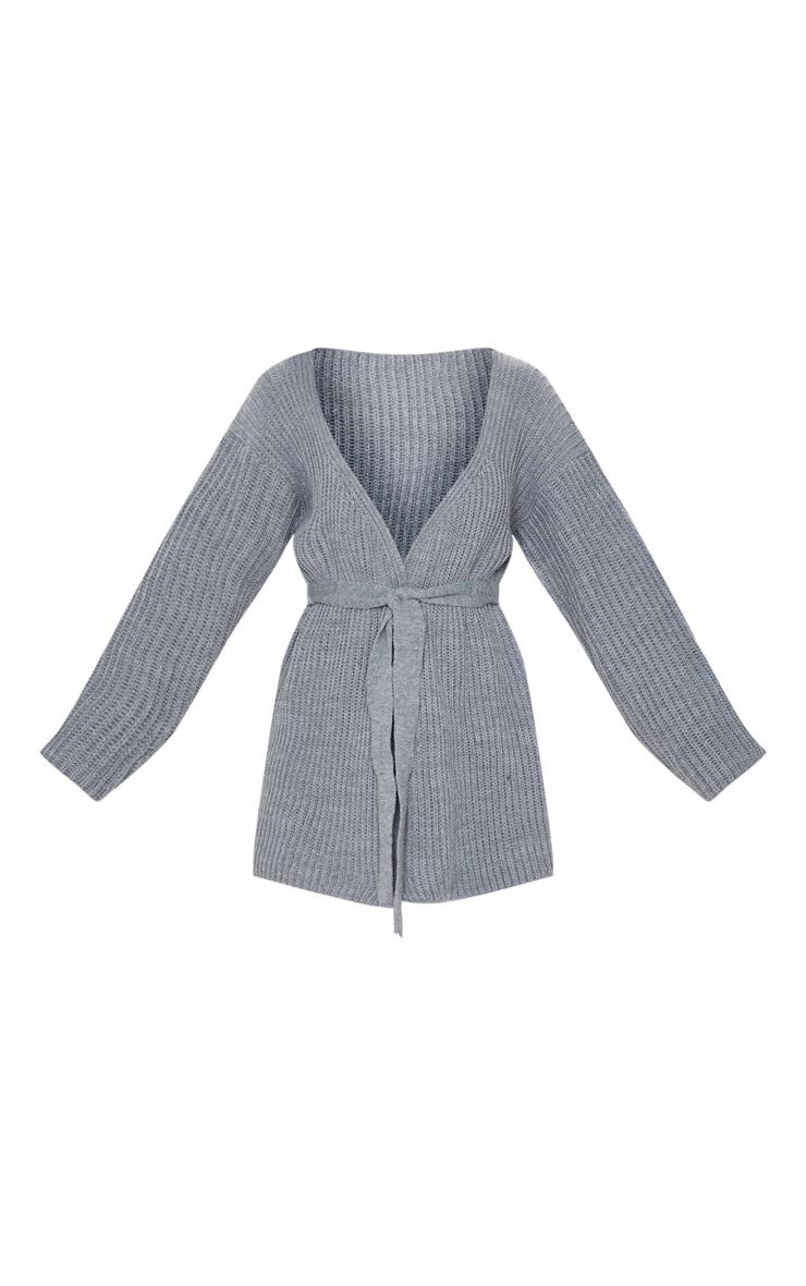 Grey Chunky Knit Wrap Cardigan 3