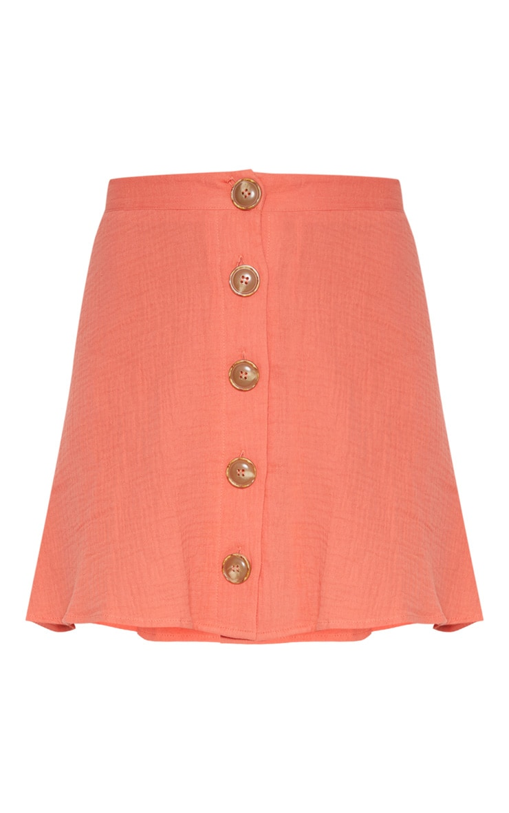 Coral Button Front Linen Feel Mini Skirt 3