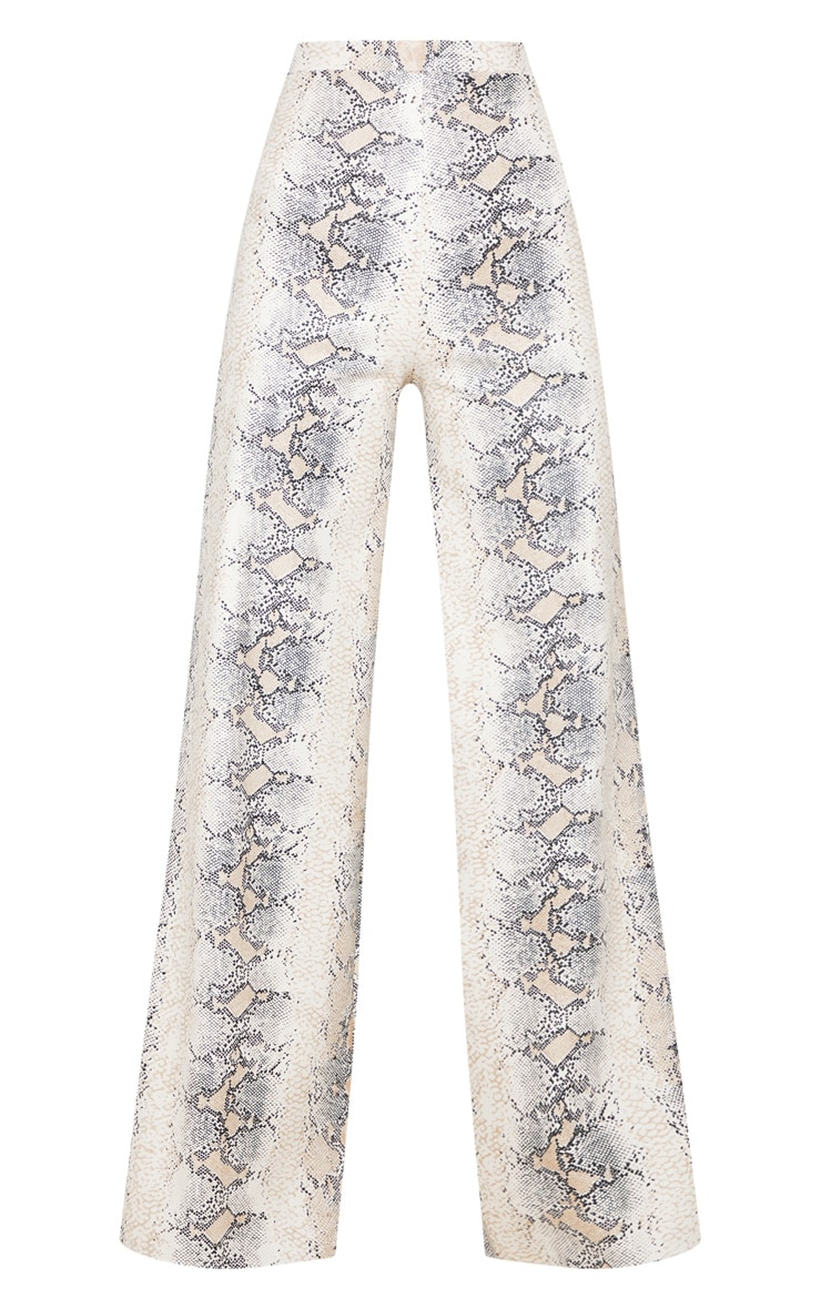 White Faux Leather Snakeskin Print Wide Leg Pants 3