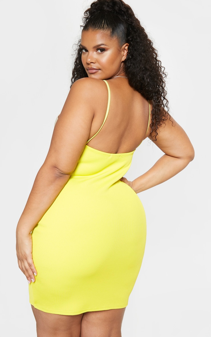 Plus Chartreuse Strappy Rib Bodycon Dress 2