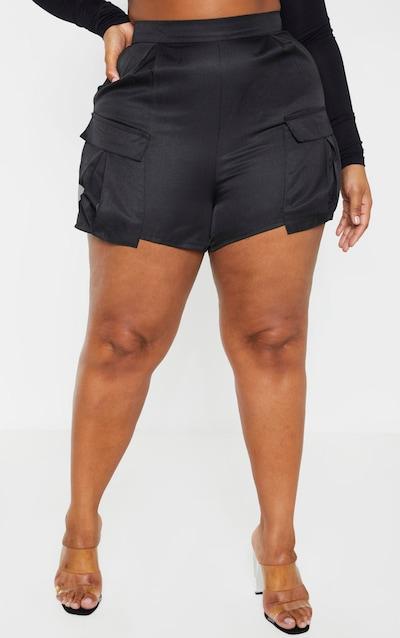 Plus Black Pocket Detail Cargo Shorts