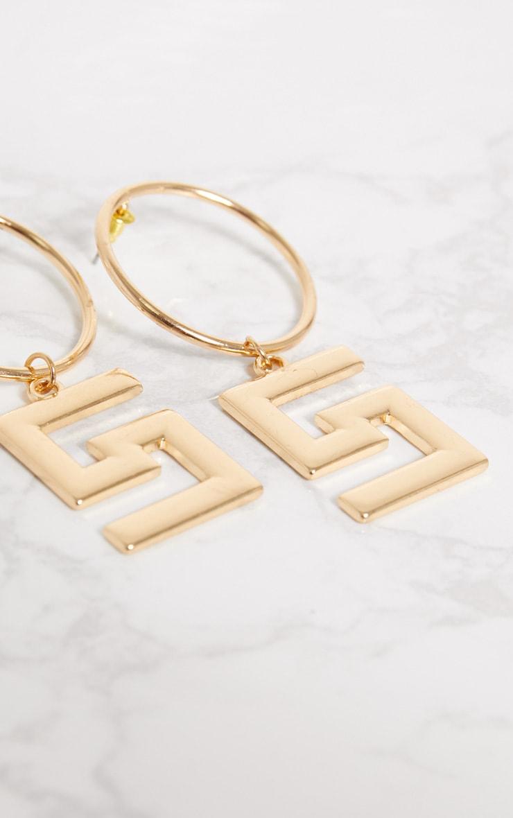 Gold Greek Key Drop Hoop Earrings 4