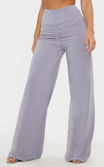 Grey Ruched Front Slinky Wide Leg Trousers