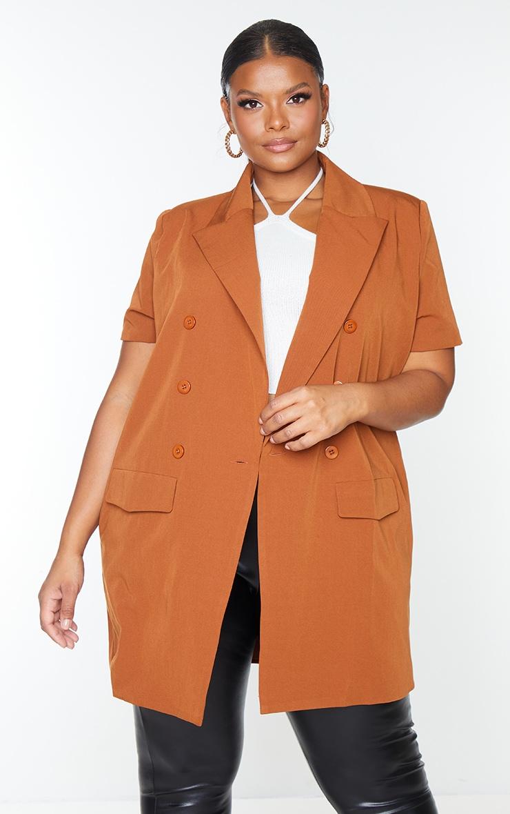 Plus Chocolate Woven Short Sleeve Longline Belted Blazer 3