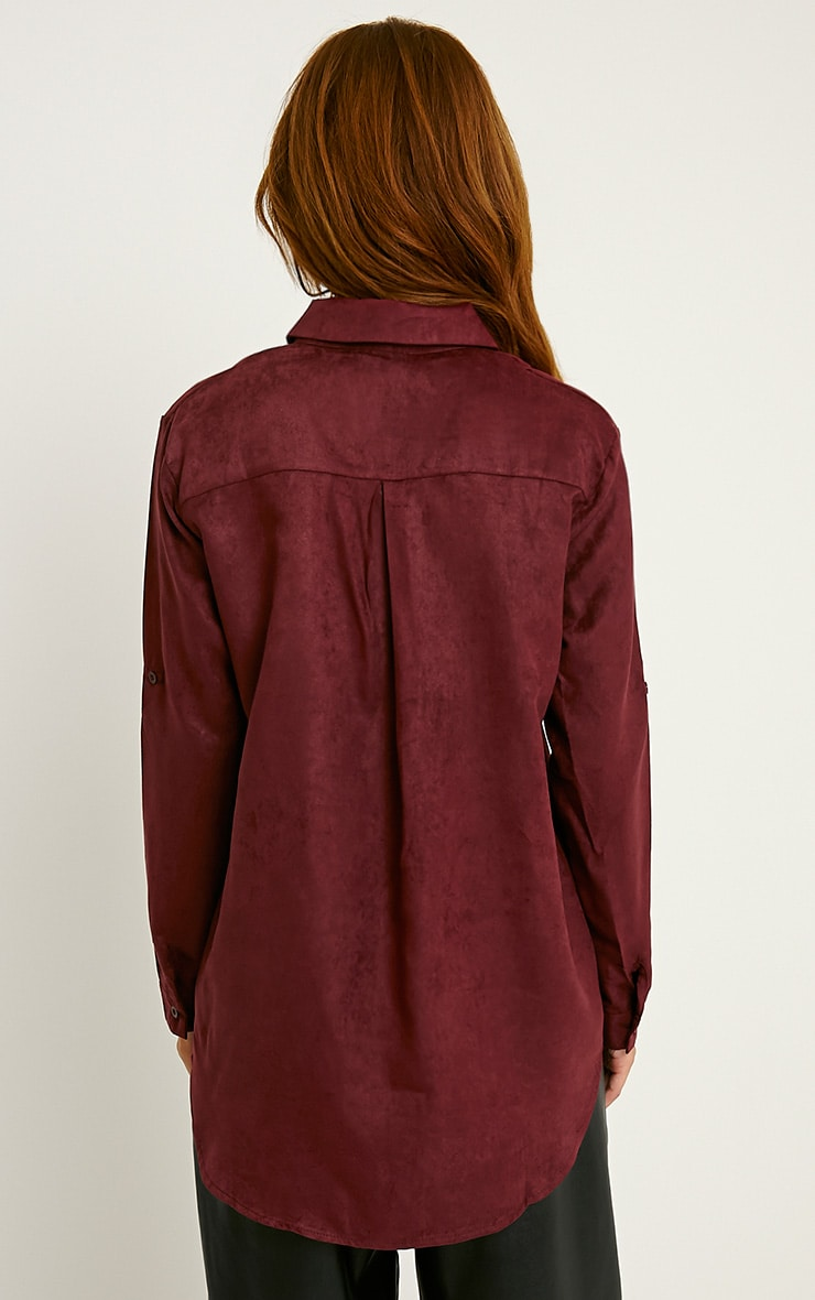 Blithe Oxblood Faux Suede Oversized Shirt 2