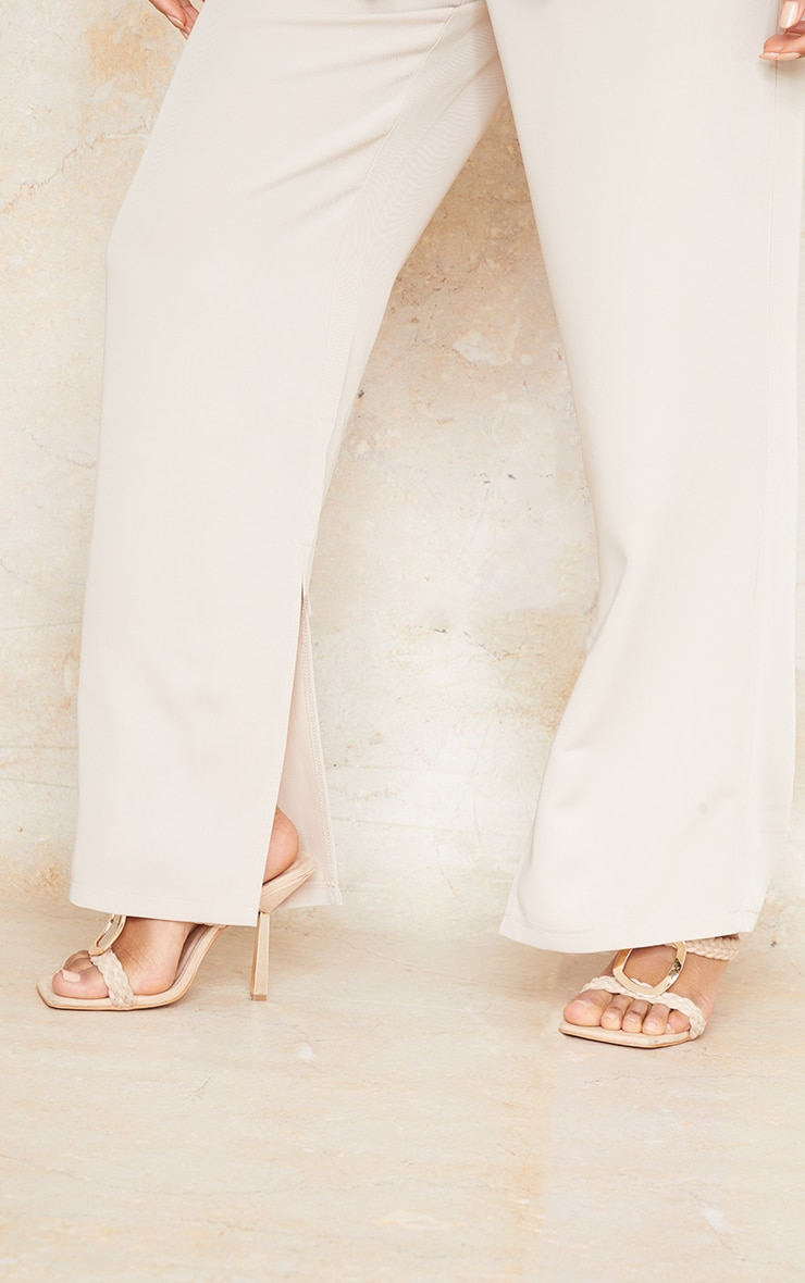 Stone Woven Tailored Straight Leg Trousers 4