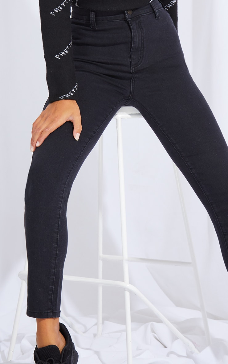 Petite Washed Black Disco Fit Skinny Jeans 4