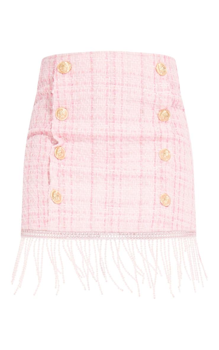 Pink Tweed Button Detail Mini Skirt 6