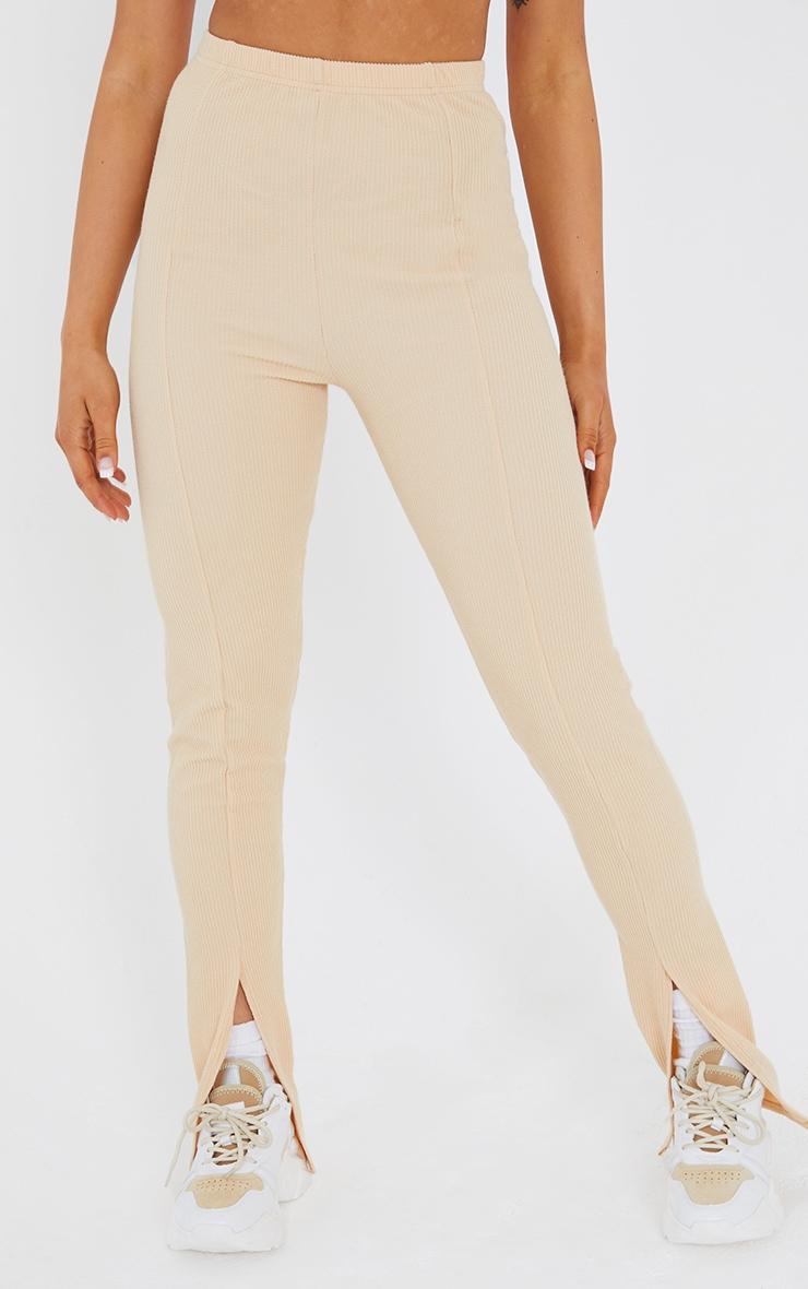 Stone Textured Rib Split Hem Skinny Trousers 2