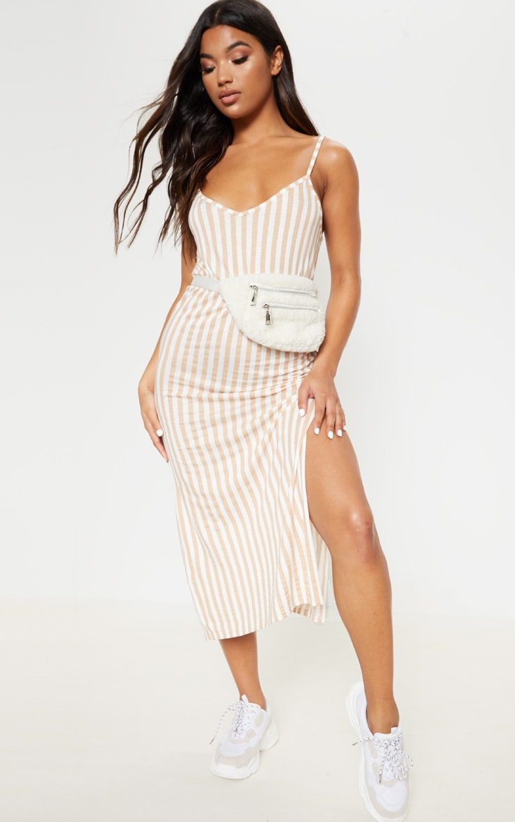 Camel Stripe Jersey Split Midi Dress 4
