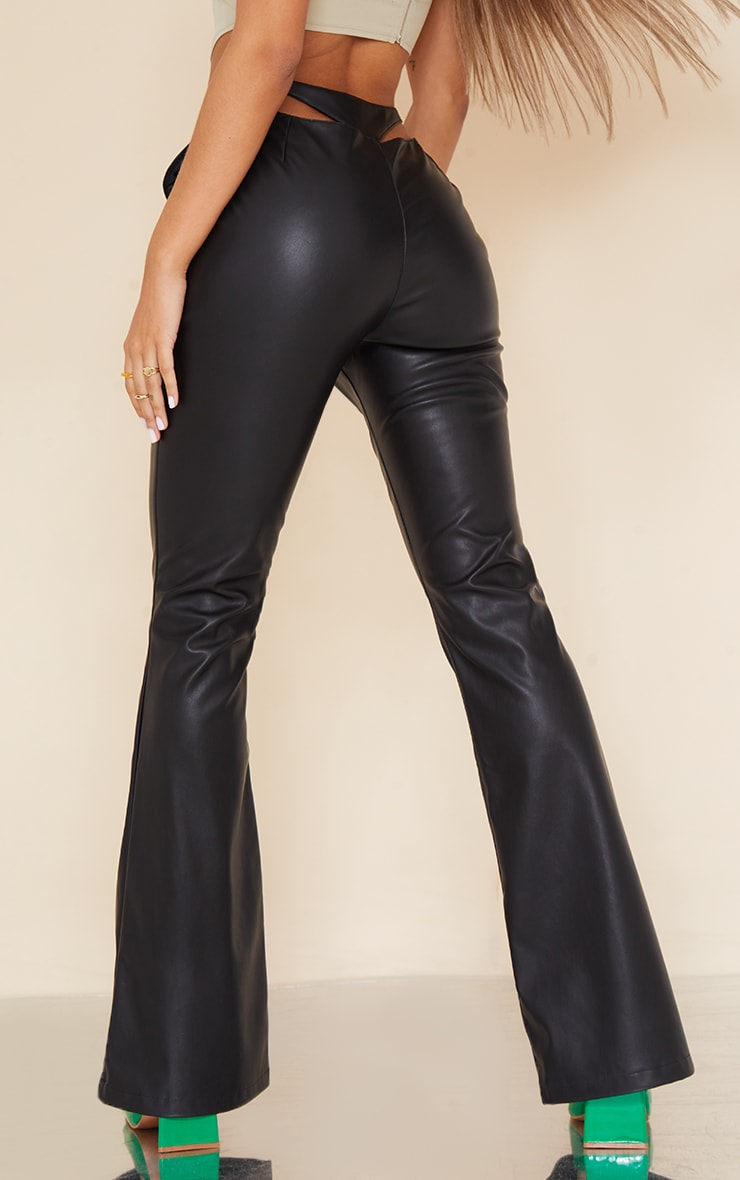 Black Faux Leather Thong Back Flare Pants 3
