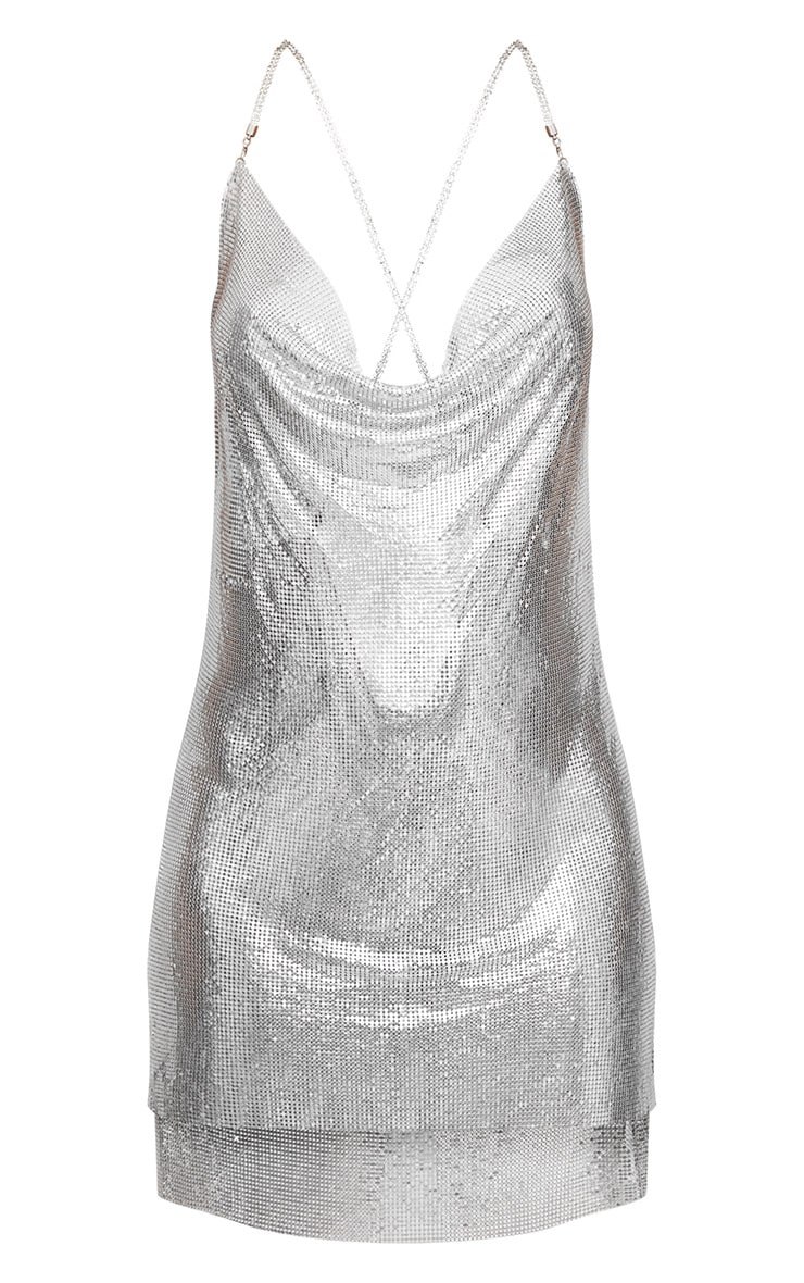 Silver Chainmail Diamante Strap Dress 3